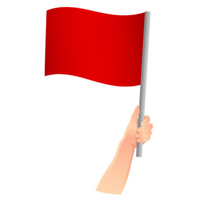Holding Red Flag