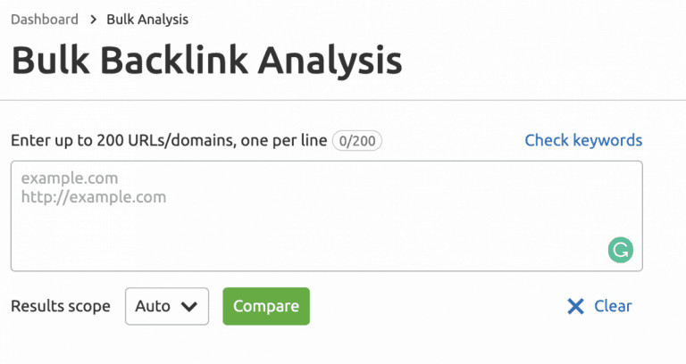 Bulk Backlink Analysis