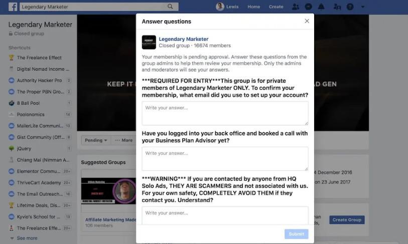 Legendary Marketer Facebook group