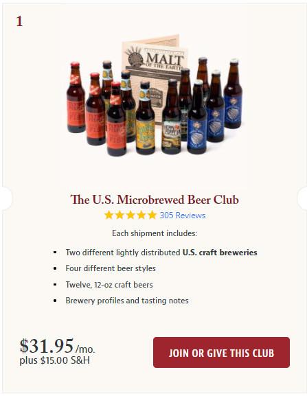The U.S. Microbrewed Beer Club Screenshot.