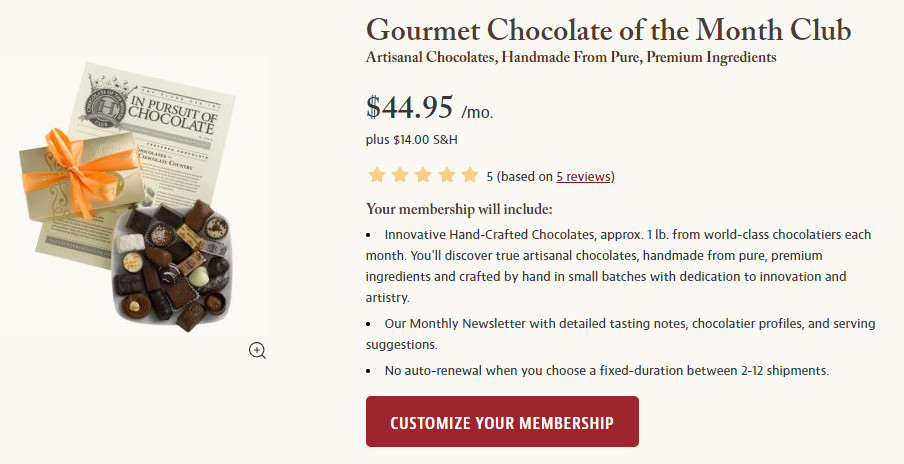 Join the Gourmet Chocolate of the Month Club Screeshot.