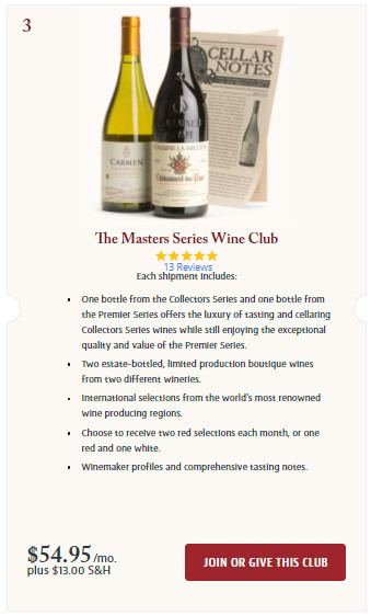 Join the Masters Series Wine Club Screenshot.