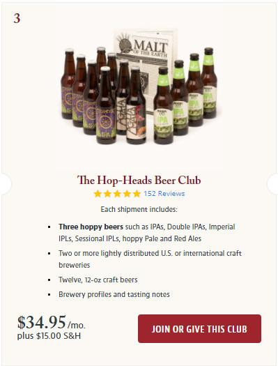 Join the Hop-Heads Beer Club Screenshot.