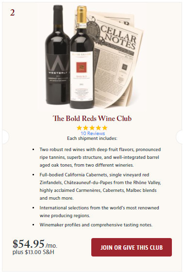 Join The Bold Reds Wine Club Screenshot