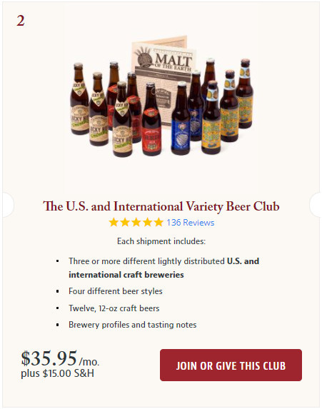 The U.S. and International Variety Beer Club Screeshot.
