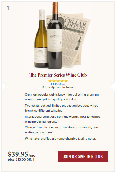 Join the Premier Series Wine Club screenshot.
