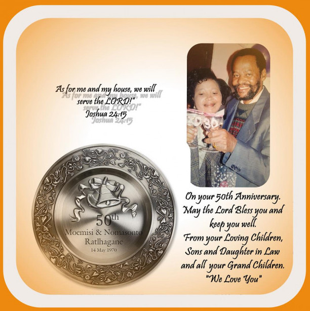 Pauline and Alfred Ratlhagane 50th Anniversary.