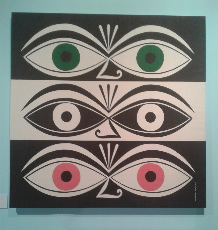 Image shows a work by Girard representing three pairs of eyes with alternating color motifs.