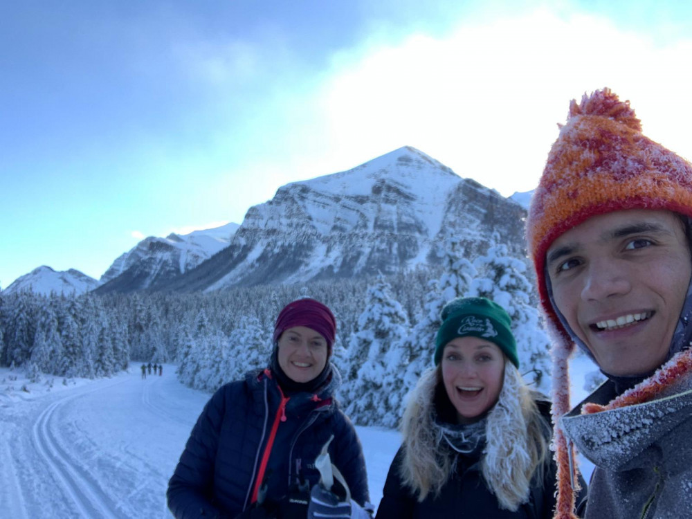 cross-country skiing in mountains