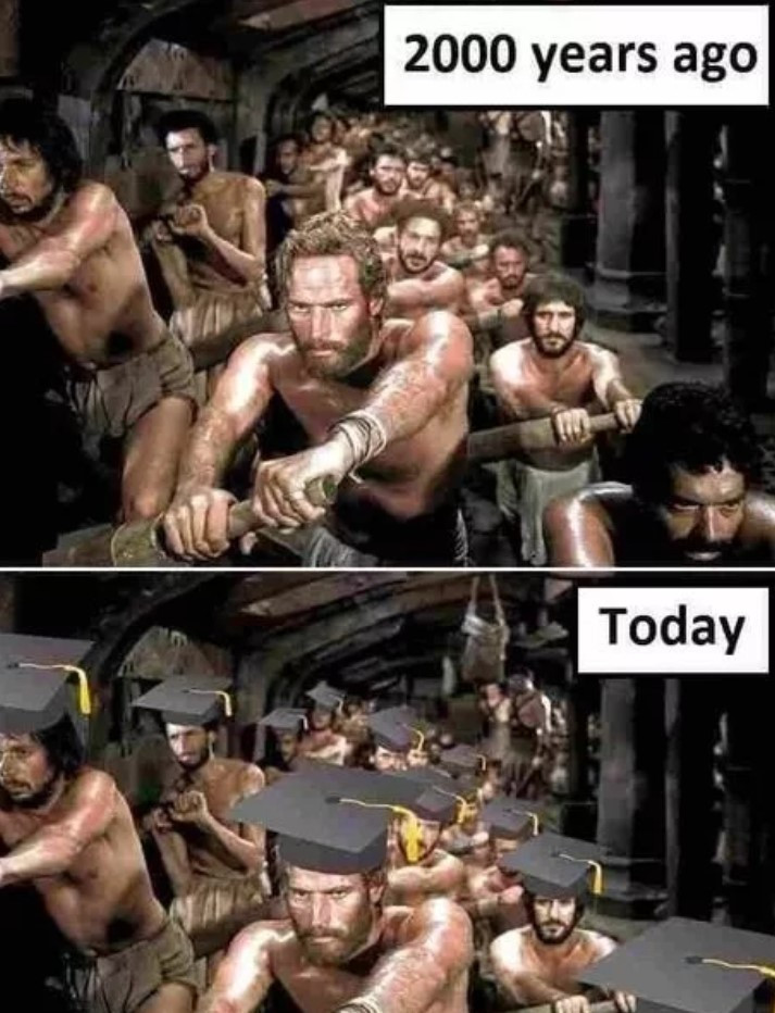 Image shows a group of slaves pulling on oars 2000 years ago. It also shows present day slaves pulling on oars wearing graduation caps
