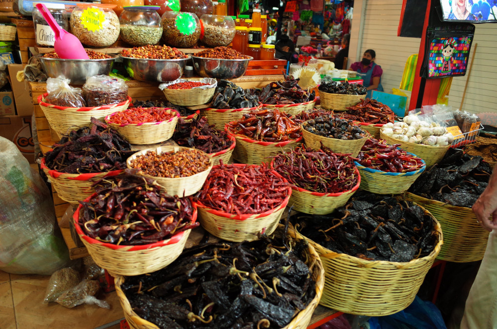 Chiles in baskets