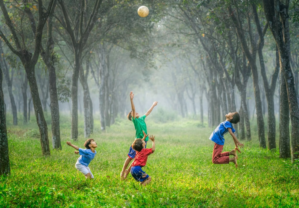 Image shows four children surrounded by trees as they play with a ball which is flying in the air