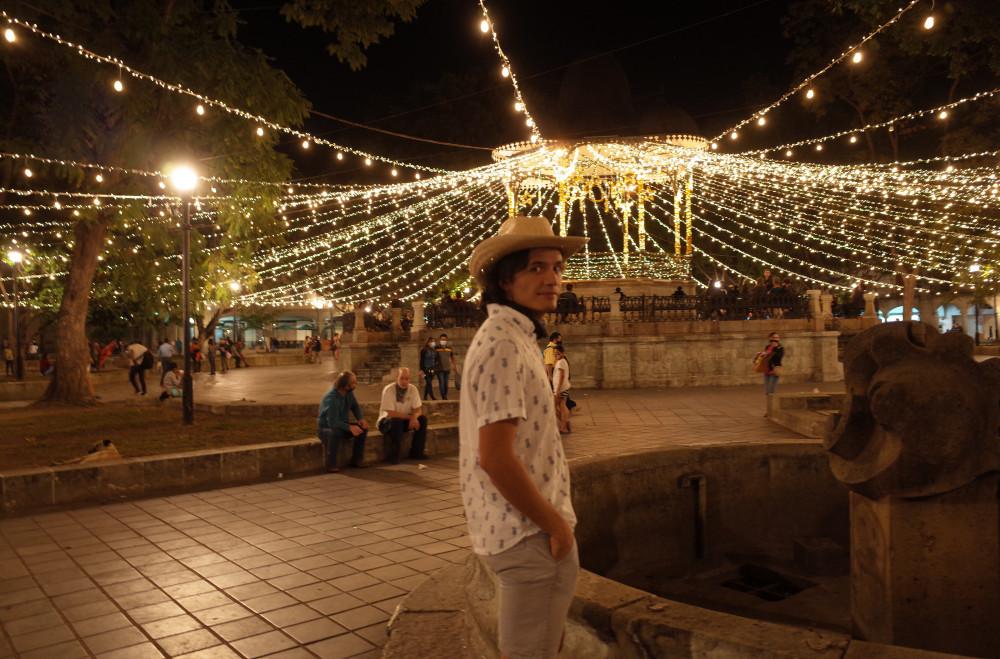 Lit up park in downtown Oaxaca