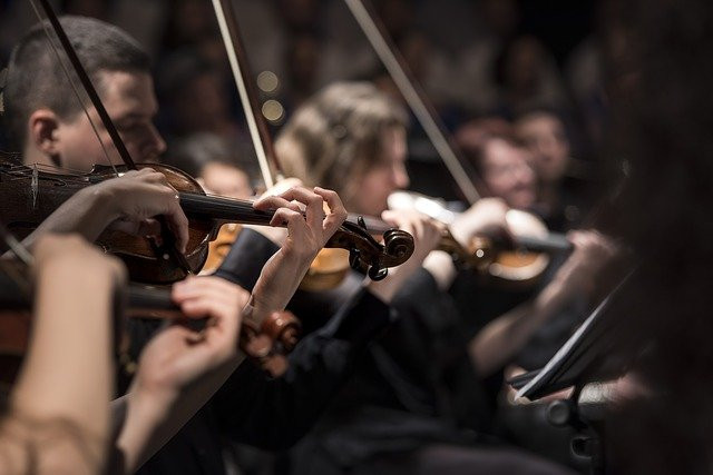 Image shows the strings section of an orchestra