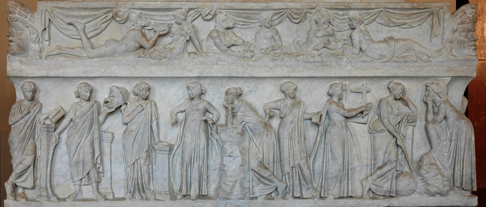 """Image shows Sarcophagus known as the """"Muses Sarcophagus"""", representing the nine Muses and their attributes. Marble, first half of the 2nd century AD, found by the Via Ostiense"""