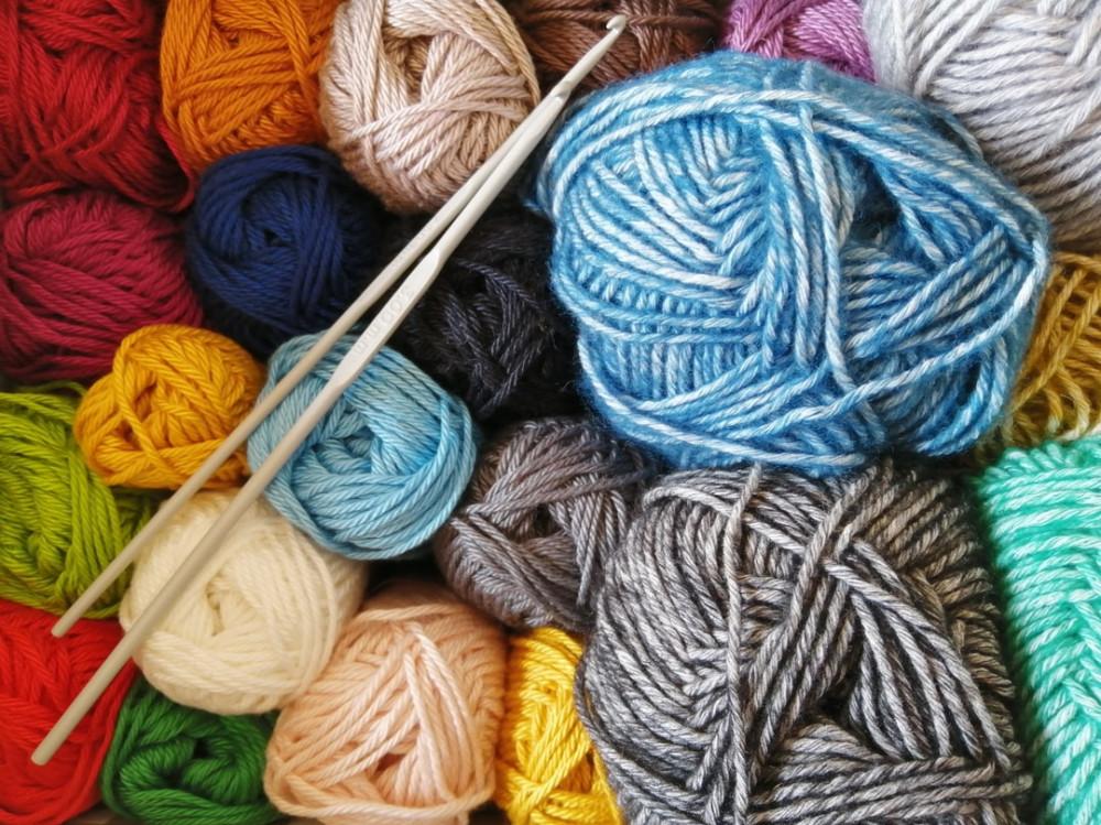 Multicolored balls of yarn