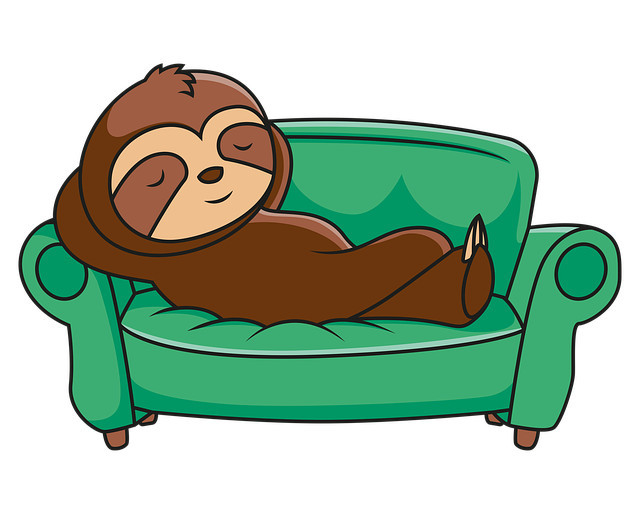 Graphic of a sloth relaxing on a green couch with its hands behind its head
