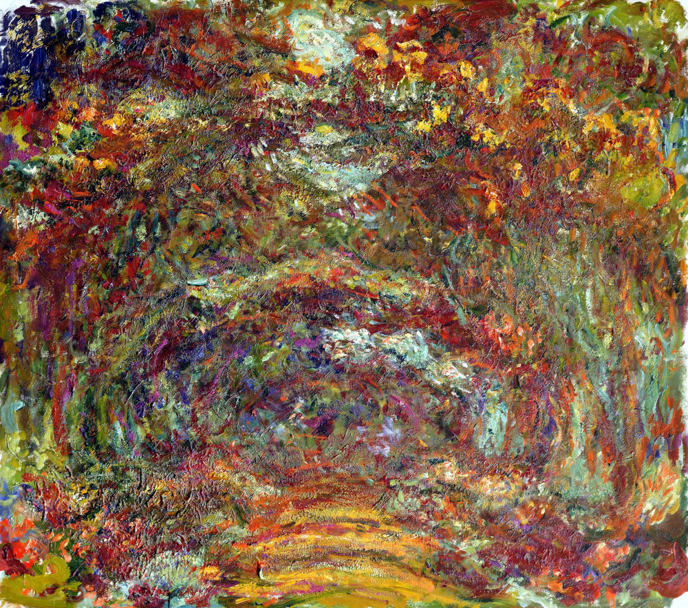 Image shows The Path Under The Rose Trees by Claude Monet, circa 1922