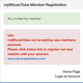 mybitcointube registration fail