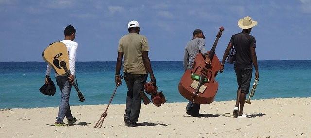 guitars on a beach