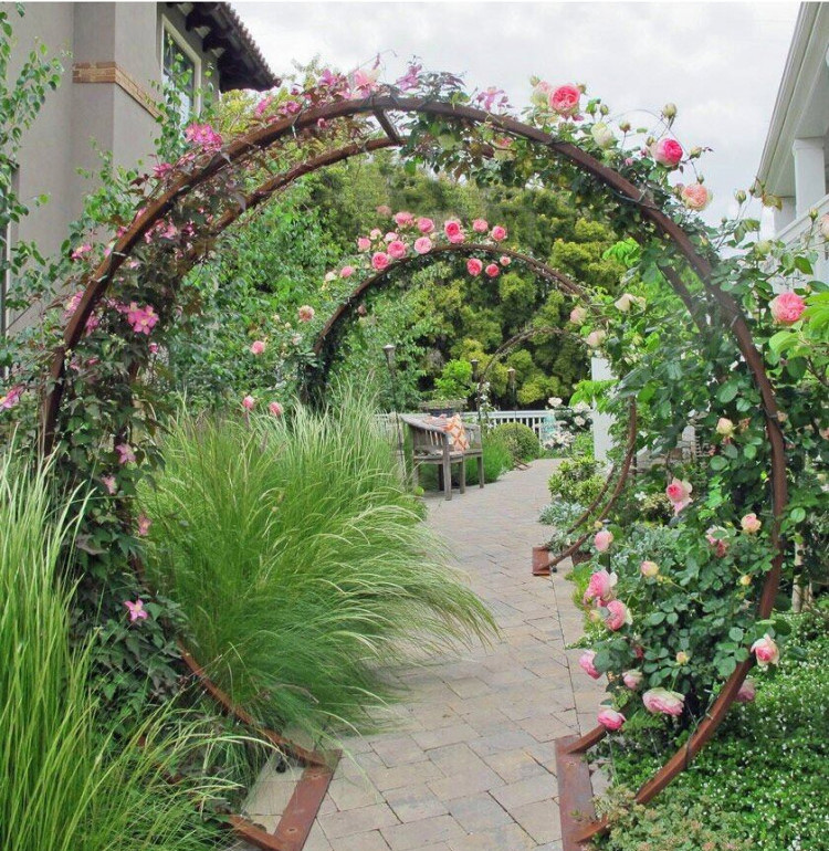 Moon Gate with Pink Roses