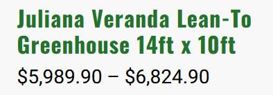 Juliana Veranda Lean-To Cost