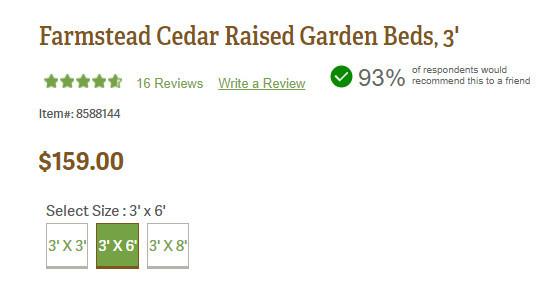 Farmstead Cedar Raised Garden Beds, 3' Price