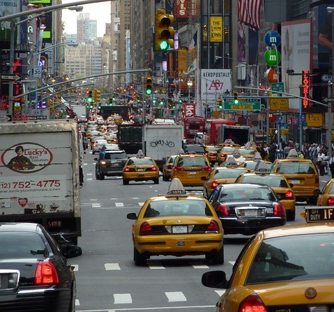 traffic and cabs in the city