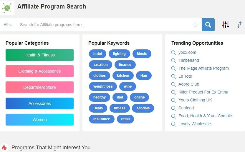 Affiliate Program Search Screenshot