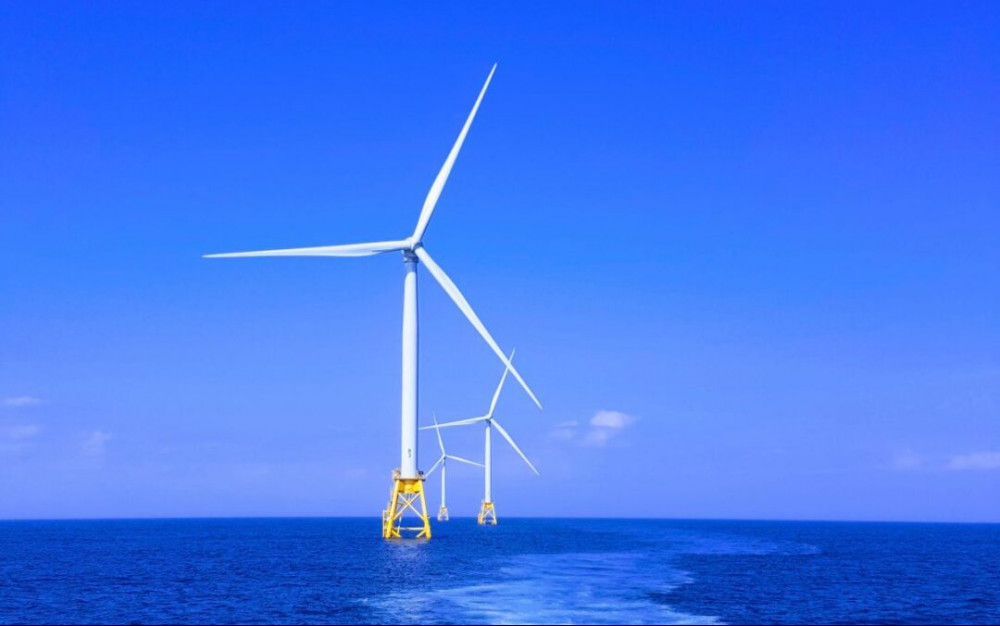 Wind farm in the ocean