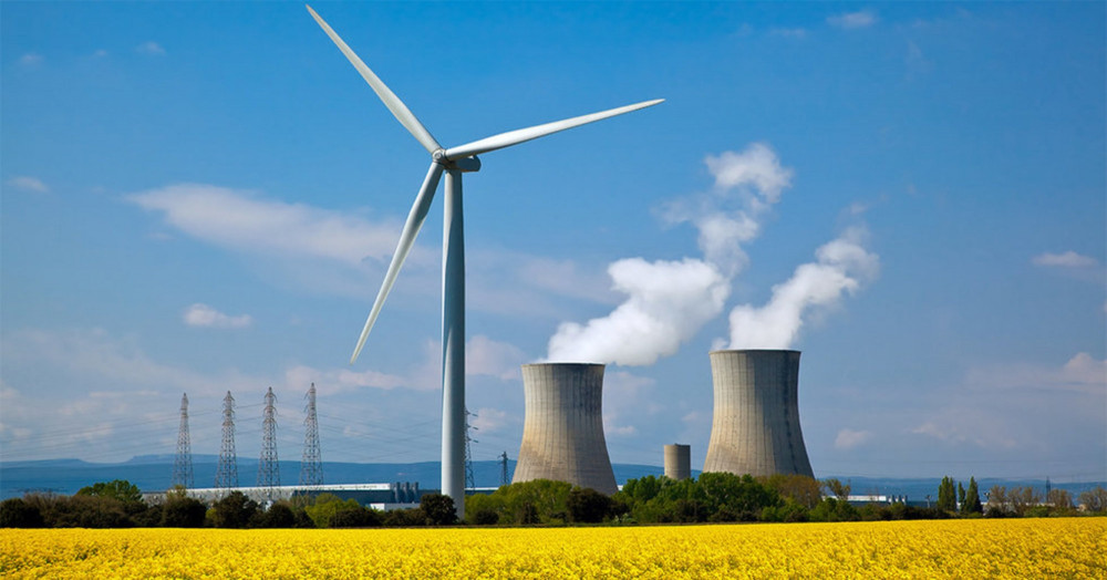 wind turbine and nuclear plant