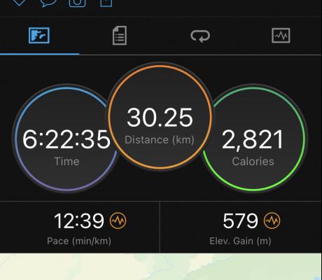 Calories burned walking 30 km