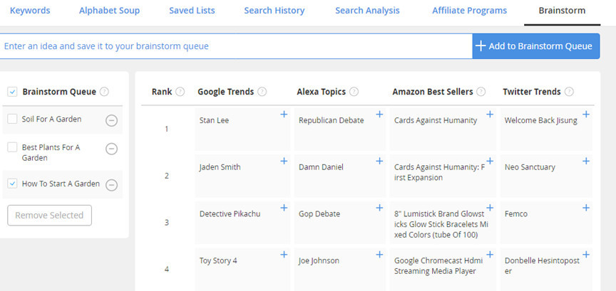 Jaaxy Search History Feature