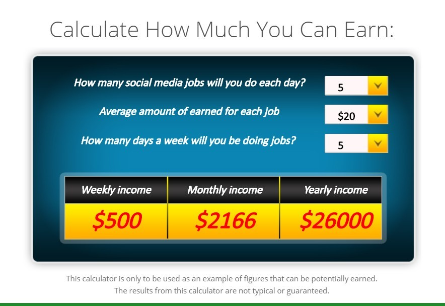 Earnings Calculator Example