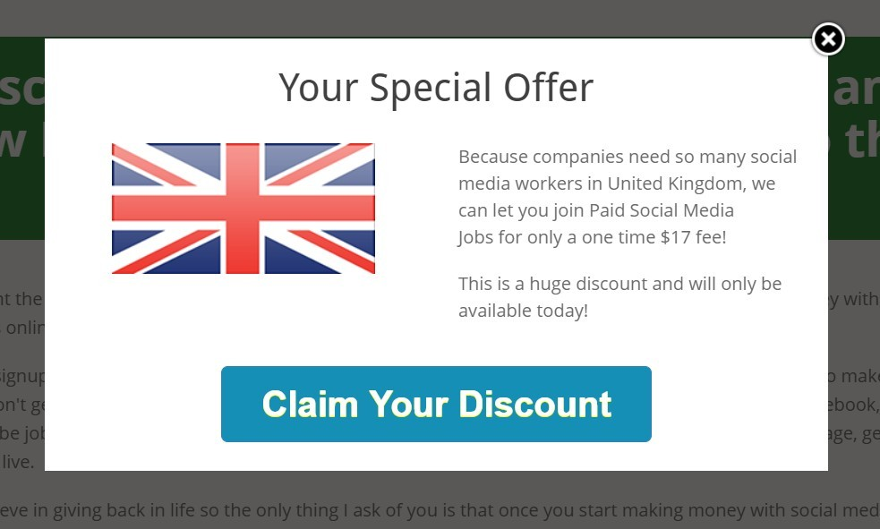 Paid social media jobs discount