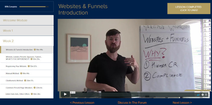 week 2 websites and funnels