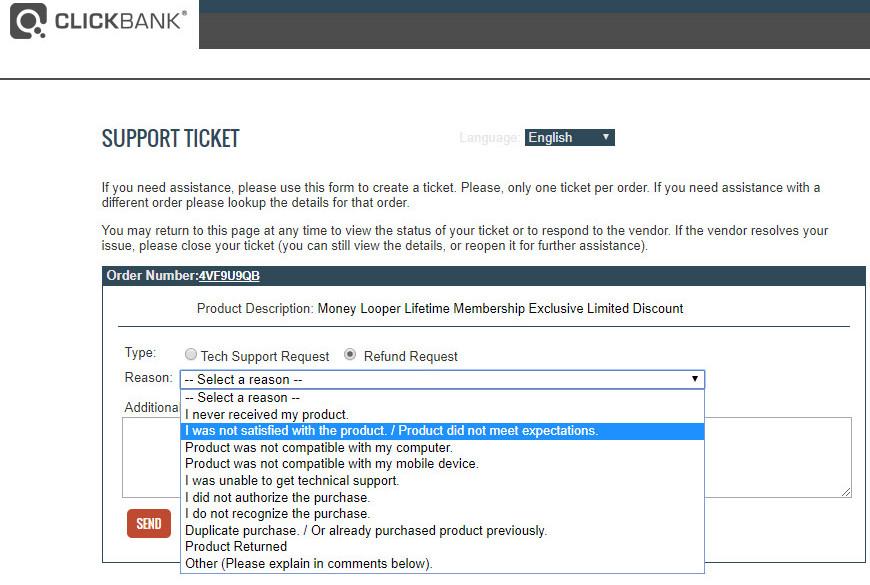 raising a support ticket refund reason