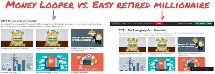 money looper vs easy retired millionaire comparison