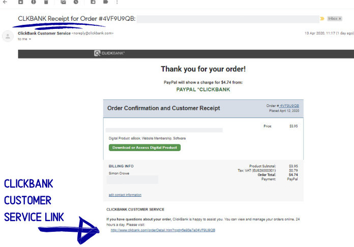 clickbank order receipt