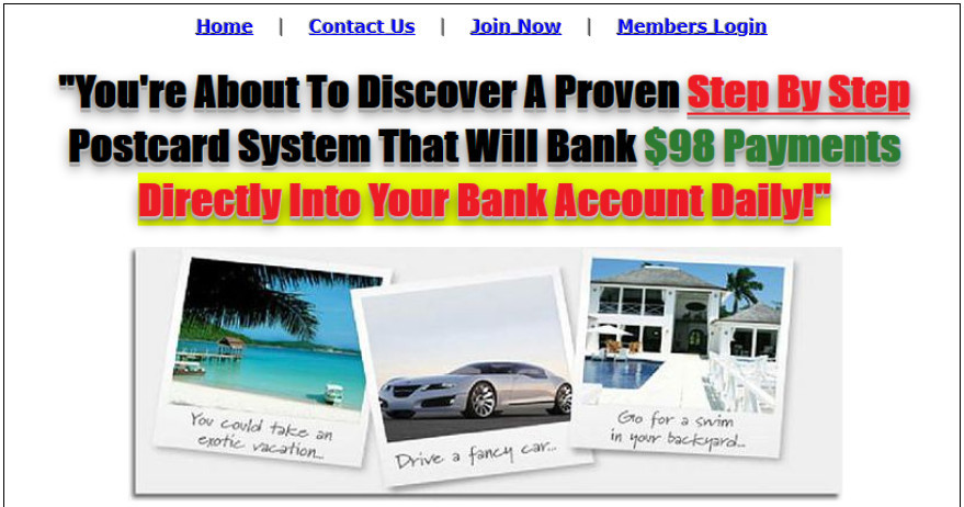 instant postcard wealth scam