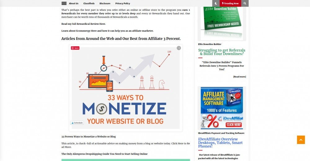 Sample of content of value and classified ads on Affiliate Newsletter by Affiliate 3 Percent