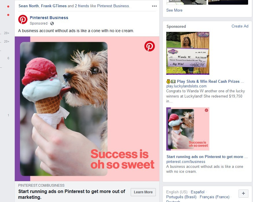 Example Facebook Ad Placements on Facebook
