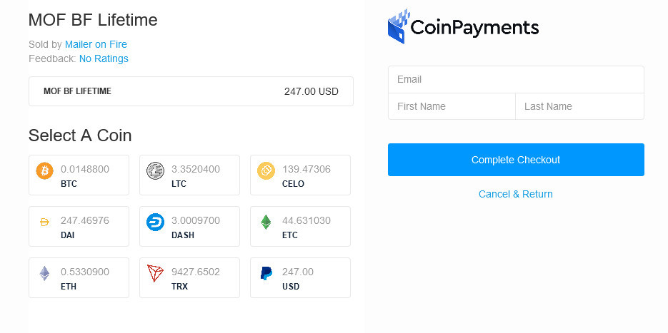 Coinpayments options including Tron now accepted at Mailer on Fire