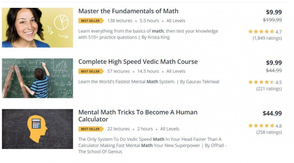 Udemy math courses