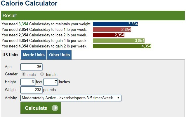 image of a calorie calculator