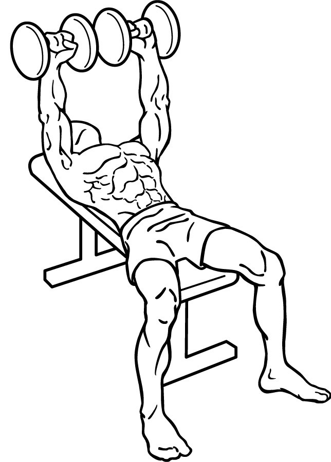 diagram of a man doing a flat dumbbell press