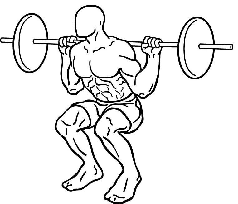 Diagram of a man squatting