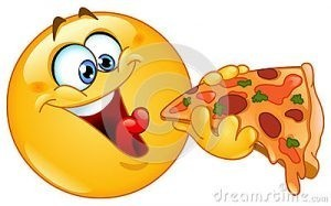 Happy face eating pizza