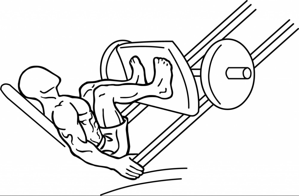 Diagram of a man leg pressing