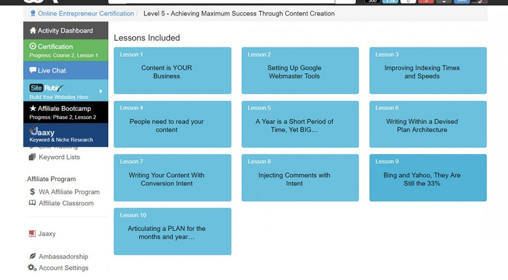 Image describing all the level 5 - Achieving Maximum Success Through Content Creation lessons